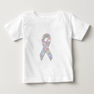真珠の肺癌のリボン ベビーTシャツ