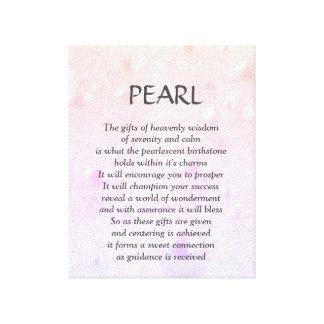 真珠のbirthstone - 6月の詩のバックラム キャンバスプリント