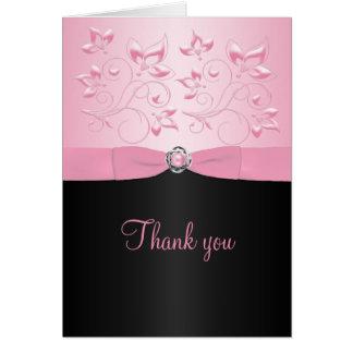 真珠のLoveknotの黒く、ピンクのサンキューカード カード