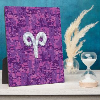 真珠はデジタル迷彩柄の牡羊座の(占星術の)十二宮図の印を好みます フォトプラーク