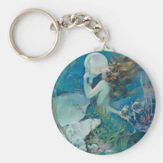 真珠を握っているヴィンテージの人魚 キーホルダー