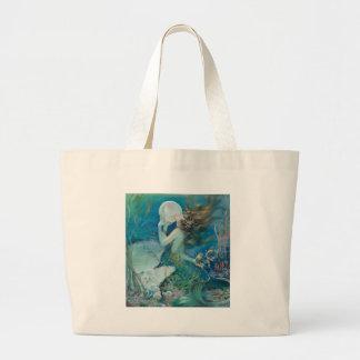 真珠を握っているヴィンテージの人魚 ラージトートバッグ