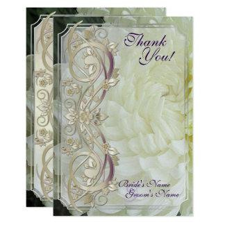 真珠スクロール及び白い菊水曜日Thank カード
