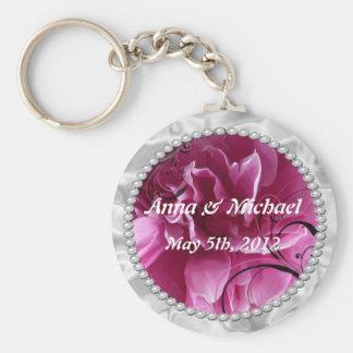 真珠及びピンクの花柄の日付のキーホルダーを救って下さい キーホルダー