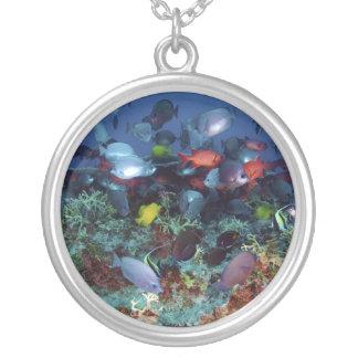 真珠及びHermesの環礁の魚の素晴らしい多様性 シルバープレートネックレス