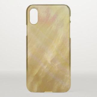 真珠母は金ゴールドにある調子を与えます iPhone X ケース
