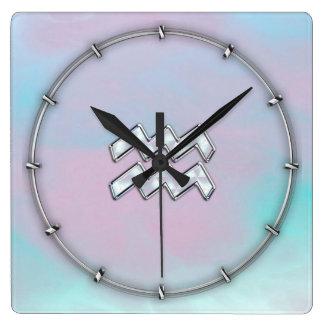 真珠色のスタイルのアクエリアスの(占星術の)十二宮図 スクエア壁時計