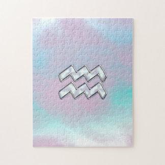 真珠色のNacreのアクエリアスの(占星術の)十二宮図の記号 ジグソーパズル