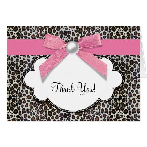 真珠 ピンク ヒョウ 感謝していして下さい  カード グリーティング・カード