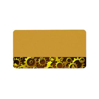 真鍮の銅のコグおよびギアのアドレス・ラベル 宛名ラベル