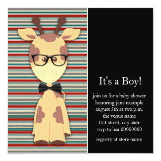 真面目なキリンの男の赤ちゃんのシャワー カード