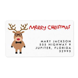 真面目なトナカイのクリスマスの休日の宛名ラベル ラベル