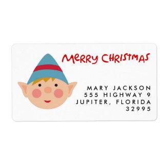 真面目な小妖精や小人のクリスマスの休日の宛名ラベル ラベル