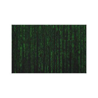 真面目な緑のコンピュータ・コード キャンバスプリント