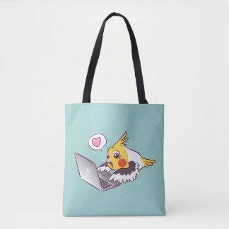 真面目なcockatielのかわいい引くMacbookの鳥のオウム トートバッグ