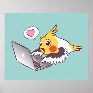 真面目なcockatielのかわいい引くMacbookの鳥のオウム ポスター