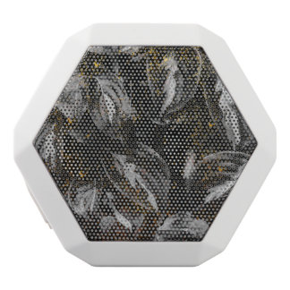 真黒および陸軍少佐の階級章の植物の自然 ホワイトBluetoothスピーカー