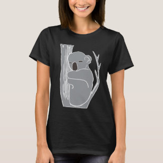眠いコアラの女性の黒いTシャツ Tシャツ