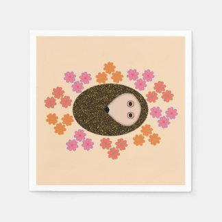 眠いハリネズミおよび花の紙ナプキン スタンダードカクテルナプキン