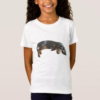 眠い子犬の女の子によって合われるティー Tシャツ