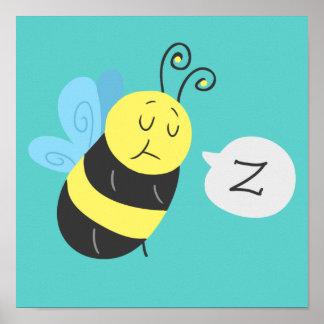 眠い漫画の《昆虫》マルハナバチ ポスター