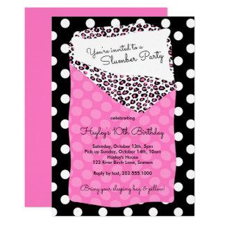 眠りのパーティの招待状、寝袋、ピンク カード