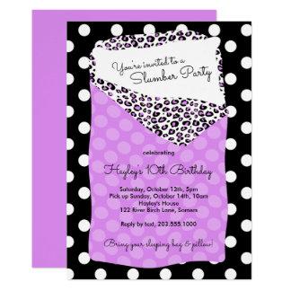 眠りのパーティの招待状、紫色寝袋 カード
