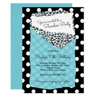 眠りのパーティの招待状、青い寝袋 カード