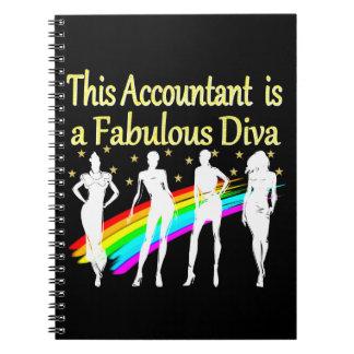 眩ます会計士の花型女性歌手のデザイン ノートブック