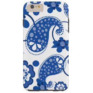 眩ます青|の白くシックなペイズリーパターン シェル iPhone 6 ケース