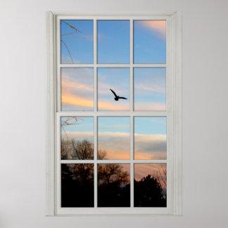 眺めの錯覚のPanedの白い窓 ポスター