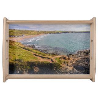 眺めのWhitesands沿岸湾Pembrokeshireウェールズ トレー