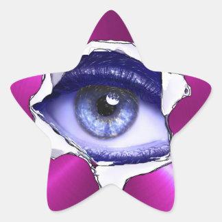 眼球の青および紫色の恐いステッカー 星シール