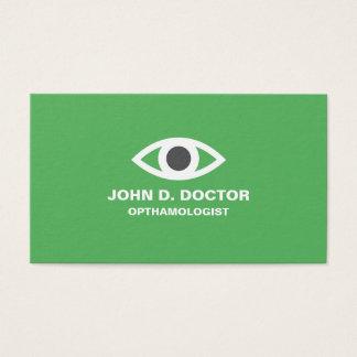 眼科医または検眼医の緑の名刺 名刺