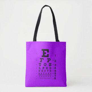 眼科学のポップアートのレトロのスタイルの視力検査表の紫色 トートバッグ