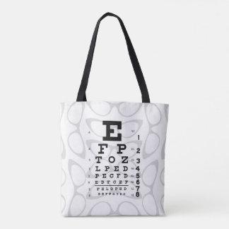 眼科学のポップアートのレトロの視力検査表のキャッツ・アイ トートバッグ