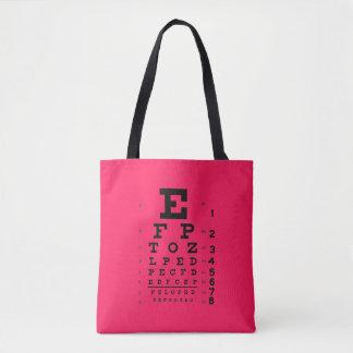 眼科学のポップアート: レトロのスタイルの視力検査表のピンク トートバッグ
