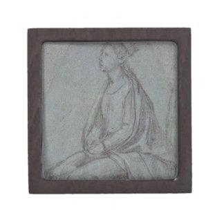 着席させた女性、c.1514 (青の黒く及び白いチョーク ギフトボックス