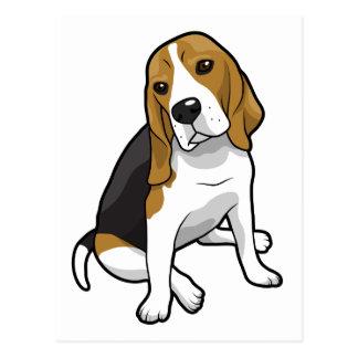 着席のビーグル犬 ポストカード