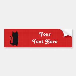 着席の黒猫のシルエット バンパーステッカー