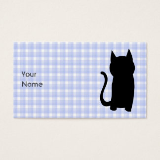 着席の黒猫のシルエット。 淡いブルーの点検 名刺