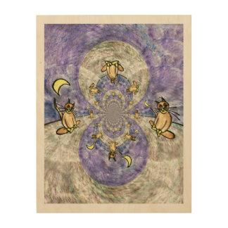 着席猫および月の万華鏡のように千変万化するパターンをめい想します ウッドウォールアート