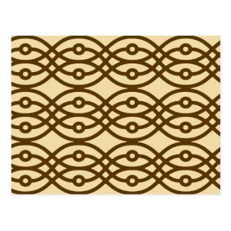 着物のプリント、黄褐色およびチョコレート色 ポストカード