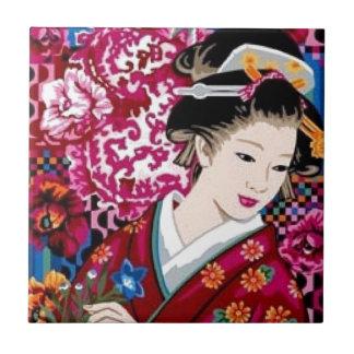 着物のヴィンテージの日本のな女性 タイル