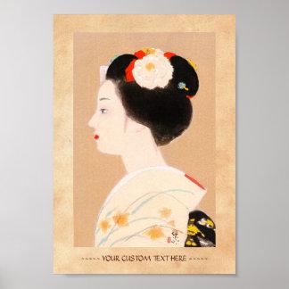 着物の女性女性の芸者のMaikoの日本の女の子 ポスター