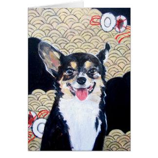 着物の挨拶状を持つ犬 カード