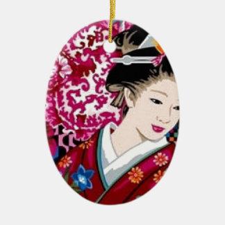 着物の日本のな女性 セラミックオーナメント