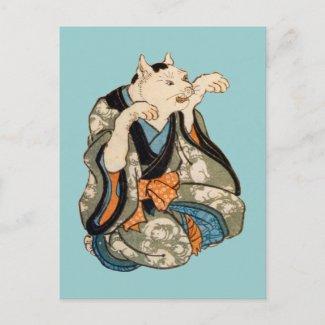 着物の猫、芳藤の着物猫、Yoshifujiの浮世絵 はがき
