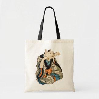 着物の猫、芳藤の着物猫、Yoshifujiの浮世絵 トートバッグ