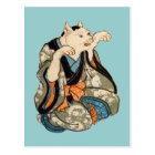 着物の猫、芳藤の着物猫、Yoshifujiの浮世絵 ポストカード